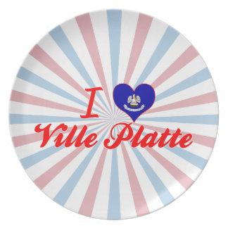 I Love Ville Platte, Louisiana Party Plates
