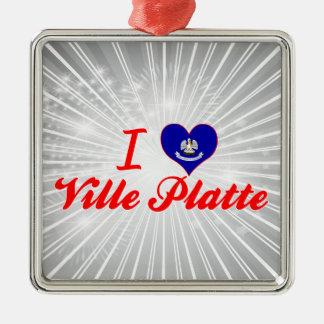 I Love Ville Platte, Louisiana Silver-Colored Square Decoration