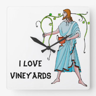I love vineyards square wall clock