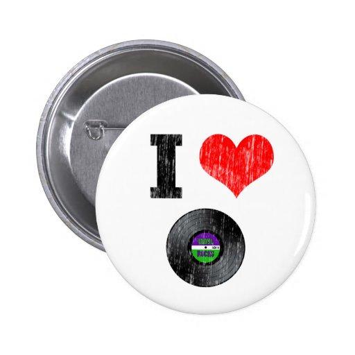 I Love Vinyl Records Button