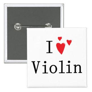 I Love Violin 15 Cm Square Badge