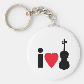 I Love Violin Basic Round Button Key Ring