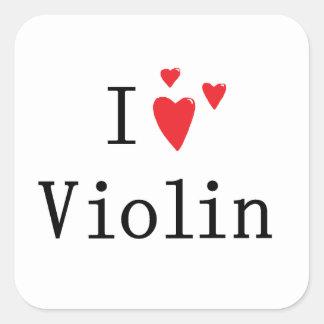 I Love Violin Square Sticker