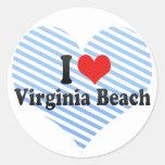 I Love Virginia Beach Round Stickers