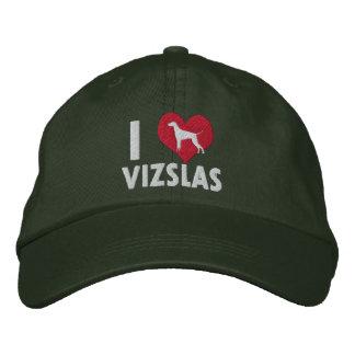 I Love Vizslas Dark Embroidered Hats