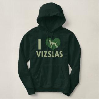 I Love Vizslas Green Embroidered Hoodie