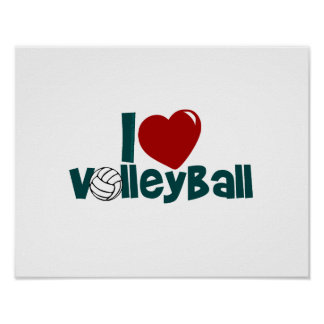 I Love Volleball Poster