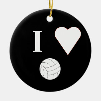 I Love Volleyball Double-Sided Ceramic Round Christmas Ornament