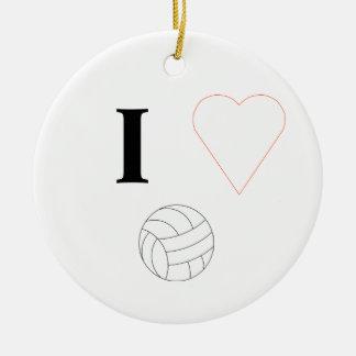I Love Volleyball Round Ceramic Decoration