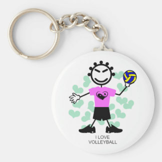 I Love Volleyball Girl Keychain