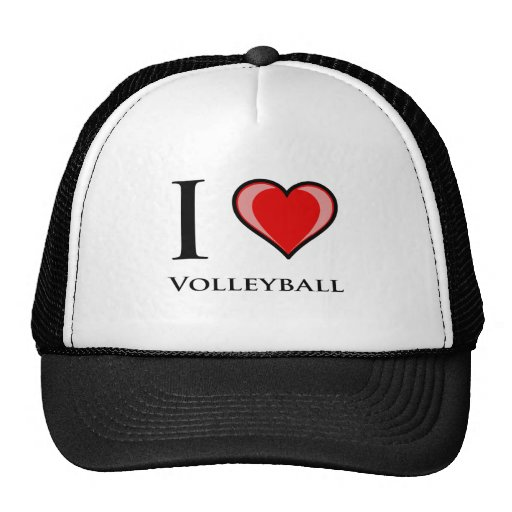 I Love Volleyball Hats