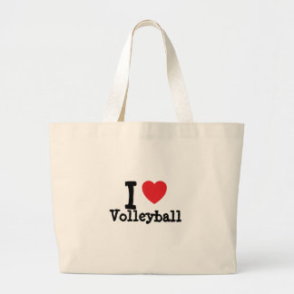 I love Volleyball heart custom personalized Jumbo Tote Bag