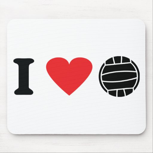 I love volleyball icon mouse pads