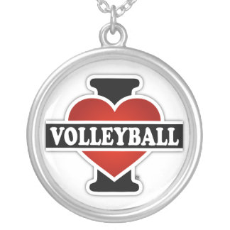 I Love Volleyball Round Pendant Necklace
