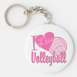 I Love Volleyball Pink Basic Round Button Key Ring