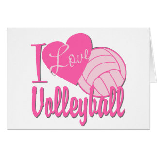 I Love Volleyball Pink Card