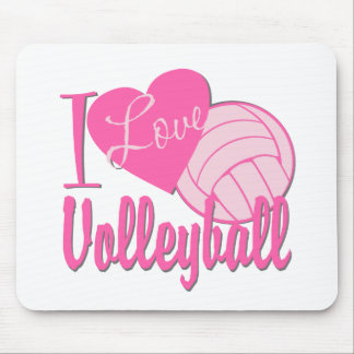 I Love Volleyball Pink Mouse Mat