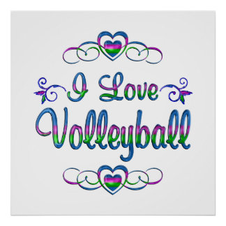 I Love Volleyball Poster