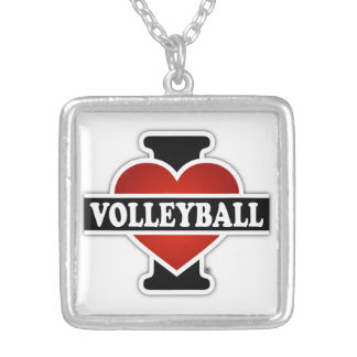 I Love Volleyball Square Pendant Necklace