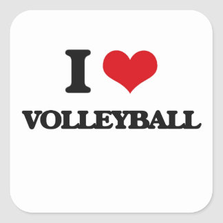 I Love Volleyball Square Stickers