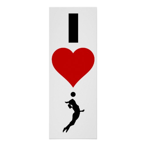 I Love Volleyball Vertical (Female) Posters