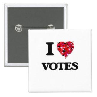 I love Votes 15 Cm Square Badge
