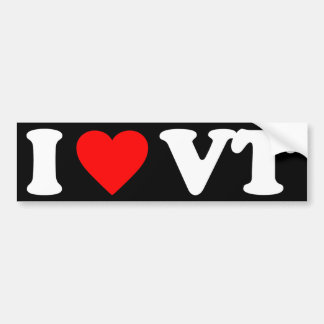 I LOVE VT BUMPER STICKER