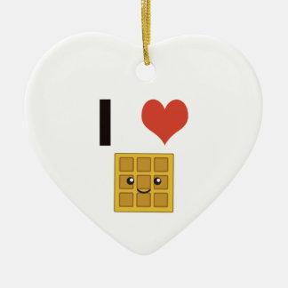 I love Waffles Ceramic Heart Decoration