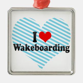I Love Wakeboarding Silver-Colored Square Decoration