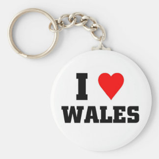I love wales basic round button key ring