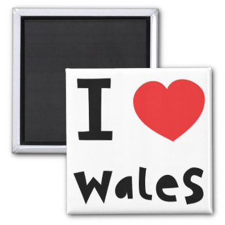 I love Wales Square Magnet