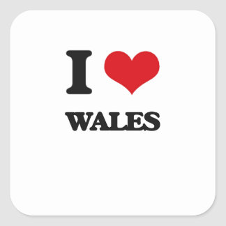 I Love Wales Square Sticker
