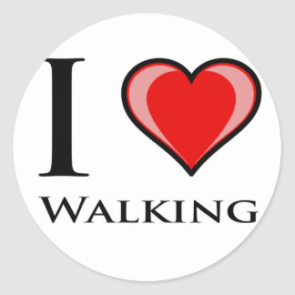 I Love Walking Classic Round Sticker