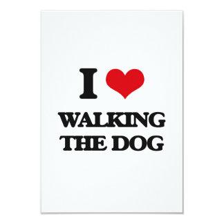 "I love Walking The Dog 3.5"" X 5"" Invitation Card"