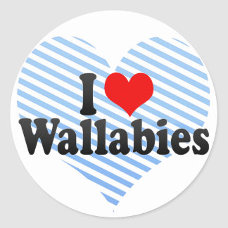 I Love Wallabies Round Sticker