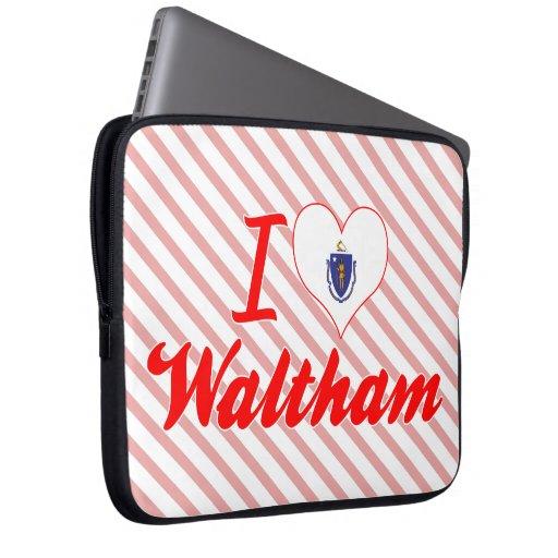 I Love Waltham, Massachusetts Laptop Sleeves