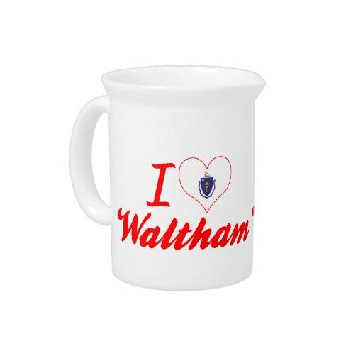 I Love Waltham, Massachusetts Beverage Pitcher
