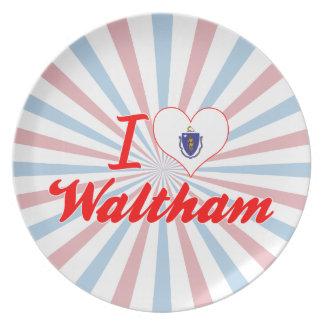 I Love Waltham Massachusetts Dinner Plate