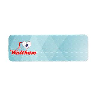 I Love Waltham, Massachusetts Return Address Label