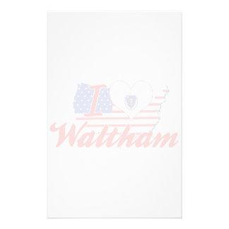 I Love Waltham Massachusetts Stationery Paper