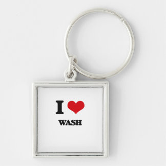 I love Wash Silver-Colored Square Key Ring