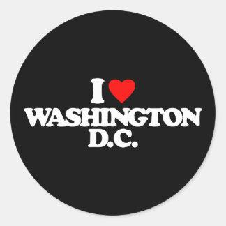 I LOVE WASHINGTON D.C. ROUND STICKER