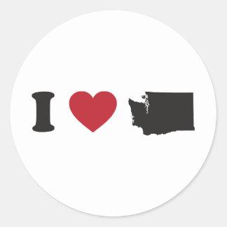 I Love Washington Round Sticker