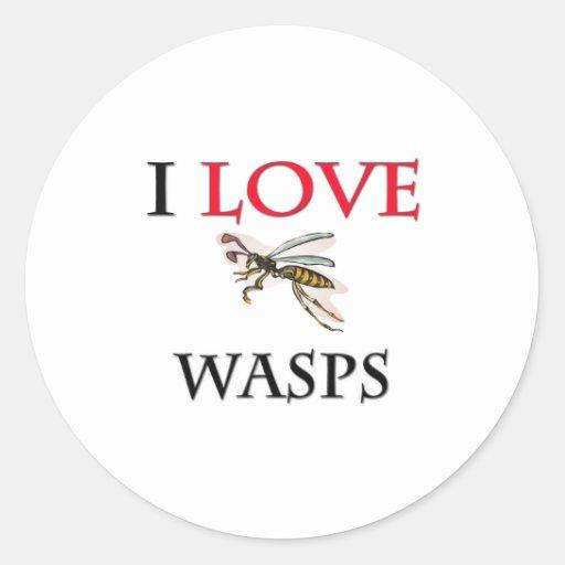 I Love Wasps Classic Round Sticker