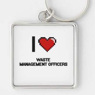 I love Waste Management Officers Silver-Colored Square Key Ring