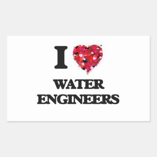 I love Water Engineers Rectangular Sticker