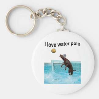 I love water polo basic round button key ring