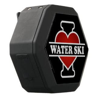 I Love Water Ski Black Bluetooth Speaker