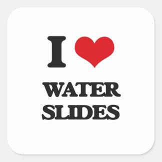 I love Water Slides Square Sticker
