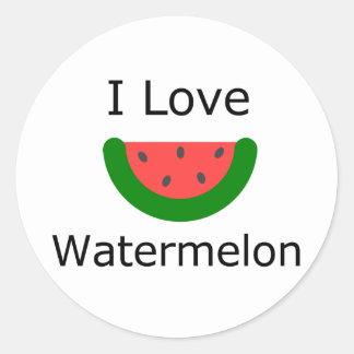 I Love Watermelon Classic Round Sticker
